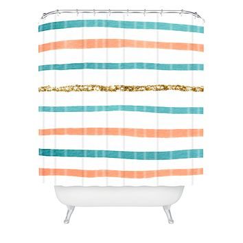 Social Proper Sparkle Stripe Shower Curtain