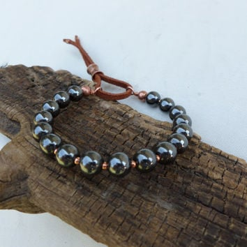 Hematite Bracelet, Men's Copper and Hematite Bracelet, Women's Copper and Hematite Bracelet, ColeTaylorDesigns