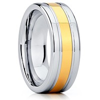 Tungsten Wedding Band - Yellow Gold Tungsten Ring - Yellow Gold Tungsten