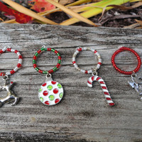 Christmas Wine Glass Charms, Christmas Decoration, Set of Four, Christmas Charms, Christmas Gift, Ho Ho Ho, Bulb, Rudolph, Candy Cane