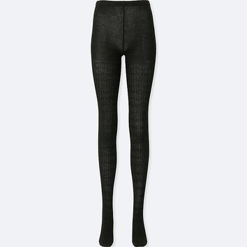 WOMEN HEATTECH KNITTED CABLE KNIT TIGHTS