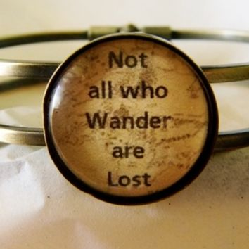 Not All Who Wander Bracelet. Bangle Bracelet. from Evangelina's Closet