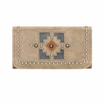 Annie's Secret Ladies' Tri-fold Tooled Wallet - Sand