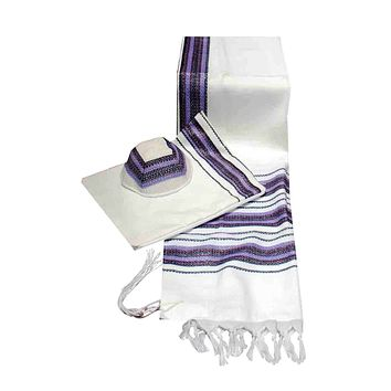 Carmel Woven Lavender Purple Shades Knit Prayer Shawl - 3 Piece Set