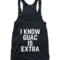 RexLambo Women's I Know Guacamole is Extra Chipotle Guac Flowy Athletic Racerback Tank Top