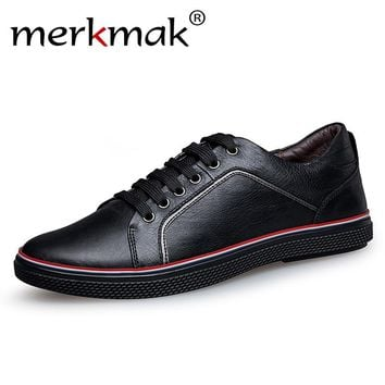 Merkmak Large Genuine Leather Men Casual Shoes Luxury Brand Designer Real Leather Shoes Fashion Oxfords Mens Flats