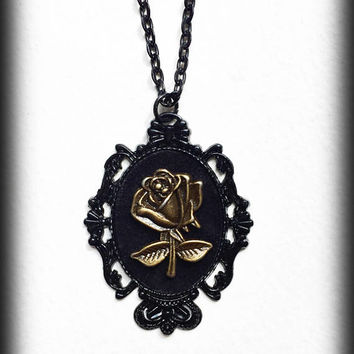 Bronze Rose Necklace, Gothic Victorian Velvet Cameo Pendant, Black Baroque Frame, Romantic Gothic Gift, Handmade Alternative Jewelry