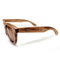 Mato Wood Wayfarer Sunglasses Polarized Brown Lens 55mm Bamboo Wooden Sunglass Case