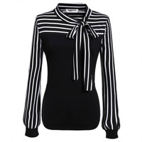 Women Fashion O-Neck Long Sleeve Striped Patchwork Slim Blouse Tops