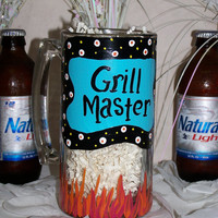 Hand Painted Beer Mug for the Grill Master