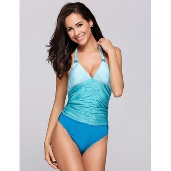Halter Backless Ruched Contrast Color One Piece Swimsuit