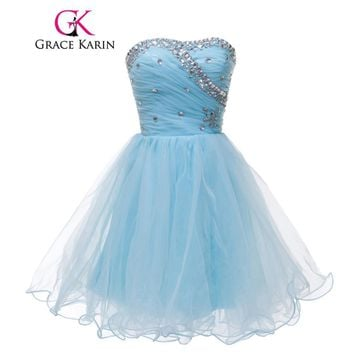 Grace Karin Blue Black White Short Cocktail Dresses Strapless Formal Cute Ball Gown Sexy Party Gown Strapless Prom Dress 2017