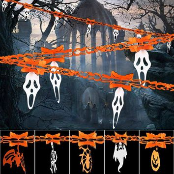 Halloween DIY Garland Decoration Props Pendant Hanging Tag Flags Decorative Paperboard Pumpkin Glost Bat Deisign Paper Garlands