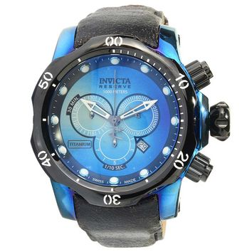 Invicta 16000 Men's Venom Reserve Blue Dial Black Leather Strap Chronograph Dive Watch