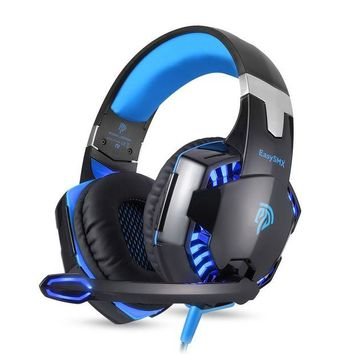 ONETOW EasySMX G2000 Over Ear Stereo Gaming Headset Wired Headphone with Adjustable Headband and Microphone Mic USB and 3.5mm Audio Connector LED Indicator Noise Isolation/In-line Volume Control for PC Gamer