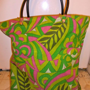 40% OFF Bright 70s Pattern Lined Canvas Beach Bag, mod, carpet bag, colorful floral purse