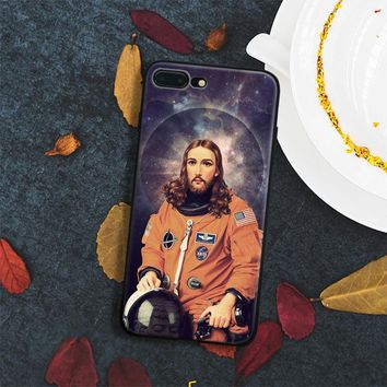 Funny astronaut jesus Coque Soft Silicone Phone Case Cover Shell For Apple IPhone X 8Plus 8 7Plus 7 6SPlus 6s 6Plus 6 Se 5s 5