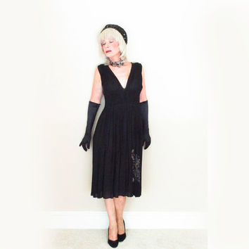 80s Vintage Couture Dress - 1980s Black Cocktail Dress - Hand Smocking Hand Painting