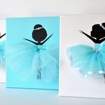 Ballerina nursery decor. Set of Three 10x10 Ballerina canvases in aqua blue.