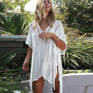 PEAPGC3 2017 New Beach Sports Woman Beach Coat In the Long Section Cover Up Knitting Loose Bikini Blouse Swimwear Sunscreen
