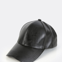 Faux Leather Baseball Hat BLACK | MakeMeChic.COM