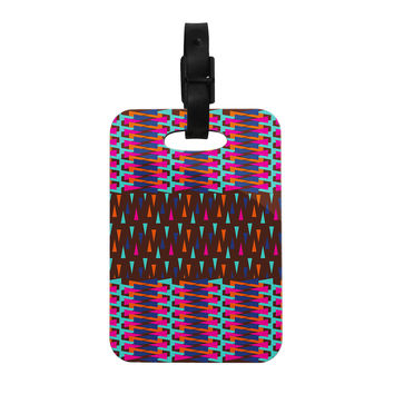"Famenxt ""Abstract Triangle Pattern"" Pink Aqua Decorative Luggage Tag"