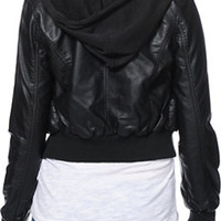 Jou Jou Black Faux Leather Bomber Jacket