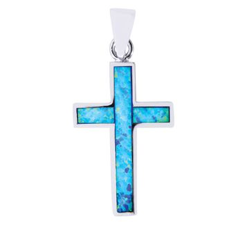 Silver with Rhodium Finish 16X28mm Cross Pendant with Created Opal