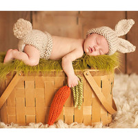 Adorbs! Newborn Baby Hand Made Rustic Bunny w/ Carrot 3 piece Crochet Set Hat Pant / Diaper Cover & Carrot Infant 1st Photo Prop Easter Spring