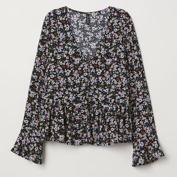 V-neck Blouse with Buttons - Black/floral - Ladies | H&M US