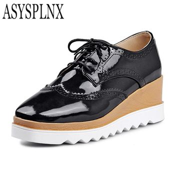 ASYSPLNX closed toe fashion flat platform women shoes autumn white balck casual school