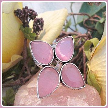 """""""Stone of Optimism"""" Pink Chalcedony Sterling Silver Ring"""