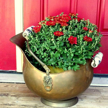 Large Copper Planter - Copper Coal Scuttle - Vintage Ash Bucket - Fireplace Decor