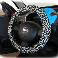 by (CoverWheel) Steering wheel cover for wheel car accessories Tiger Print with royal blue Bow