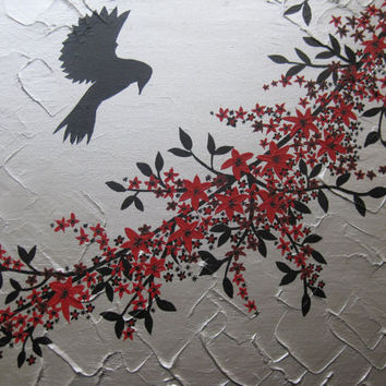red black silver gray grey painting of flowers and bird - branch tree modern zen art cherry blossom trees large abstract paintings