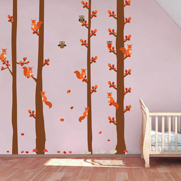 kcik1688 Full Color Wall decal bedroom children's Custom Baby Nursery tree nusery decal tree forest owl birds squirrels