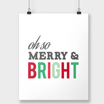 Print Christmas Merry and Bright - Holiday Print - Xmas Decor - Christmas Wall Decor Art - Christmas Decoration - Red and Green