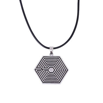 KPOP Korean Pop Jewelry EXO Logo Pendant Necklace Leather Cord Fan Necklace Overdose Wolf Monster Balad