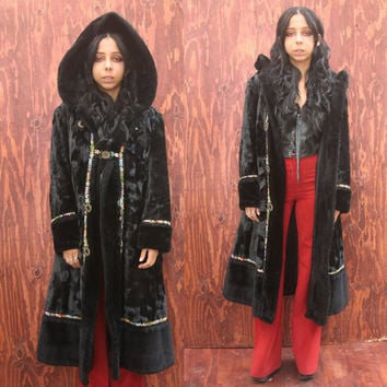Vintage 60s 70s black velvet Faux Fur hooded coat S/M