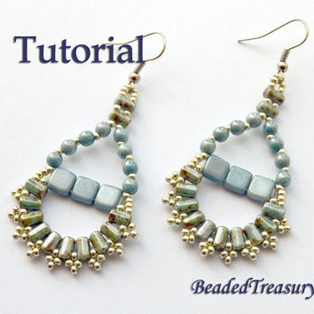 Principessa - beadwoven earrings tutorial / Beading tutorial / Earring pattern / Bead pattern / CzechMates, Rulla beads / TUTORIAL ONLY