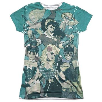 Justice League of America Bombshell Group Juniors Vibrant Color Sublimation T-Shirt