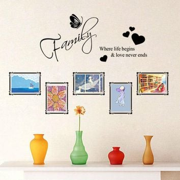 vinyl photo frame family quotes wall stickers living room decor 8562. diy home decals art posters adesivos de paredes paper 4.0