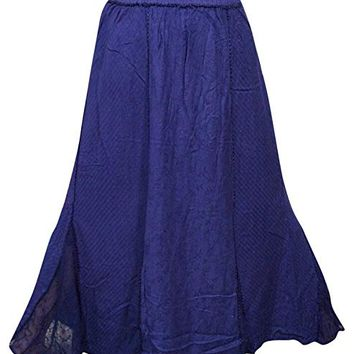 Women's Long Skirt Dark Blue Bohemian Style Gypsy Casual Rayon Skirts M: Amazon.ca: Clothing & Accessories