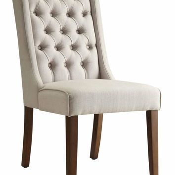 Set of 2 Levine collection beige fabric tufted back style dining chairs
