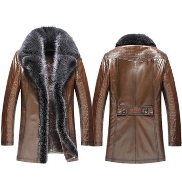 Men's Embossed Sheepskin Leather Coat Raccoon Fur Trim