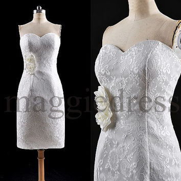 Custom White Lace Short Prom Dresess Evening Dresees Formal Party Dresses Wedding Party Dress Homecoming Dresses Cocktail Dresses