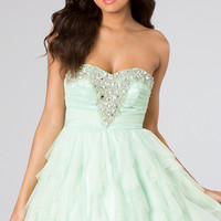 Short Strapless Party Dress with Ruffled Skirt by Bee Darlin