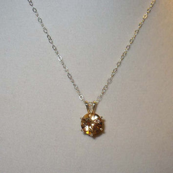 Precious Topaz in Sterling Pendant Necklace