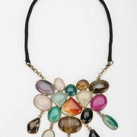 Stone Statement Necklace- Gold One