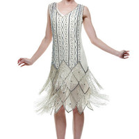Ivory with Contrast Beaded Fringe Flapper - Sz: XS-XL - Unique Vintage - Homecoming Dresses, Pinup & Prom Dresses.